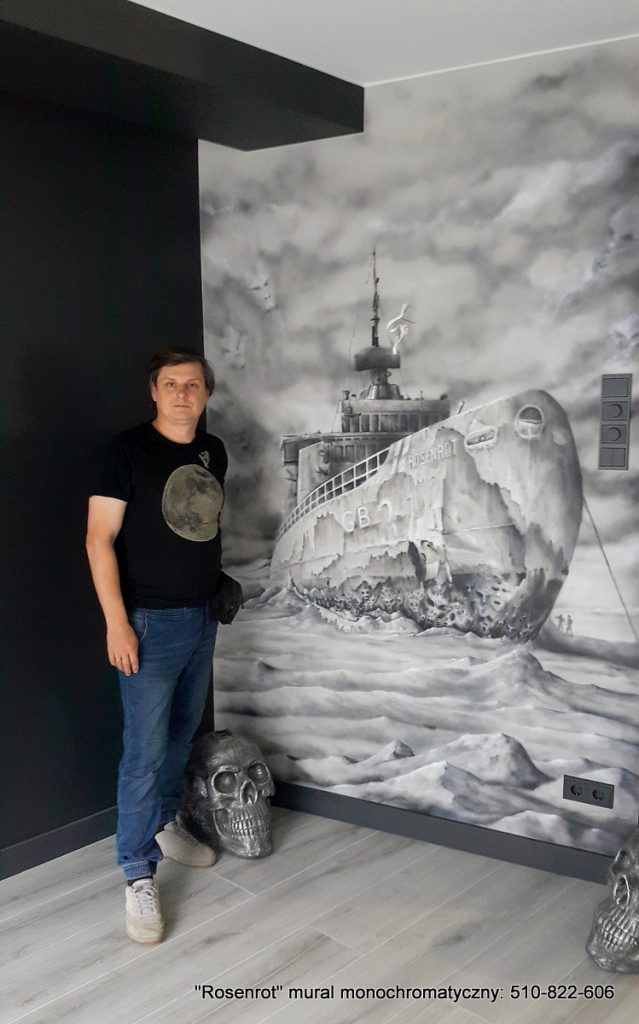 Mural w lofcie matel hause, malowanie obrazu na ścianie