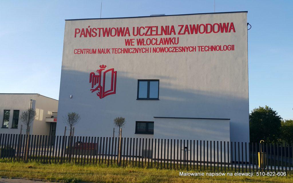 Malowanie napisów na elewacji budynku uczelni w e włocławku