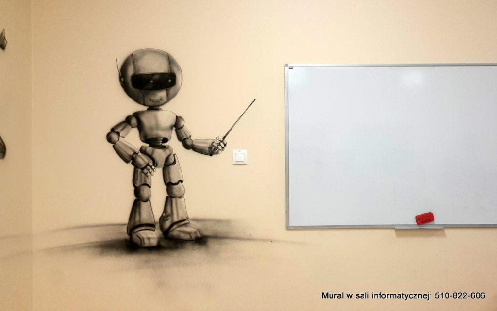 Pomysł na sale komputerowa, malowanie klasy informatycznej w czarno biały motyw związany z informatyką