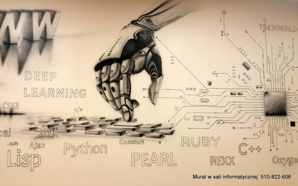 Malowanie pracowni informatycznej, aranżacja pracowni informatycznej mural