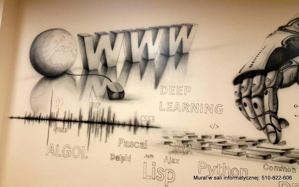 Malowanie czarno białego muralu w pracowni informatycznej