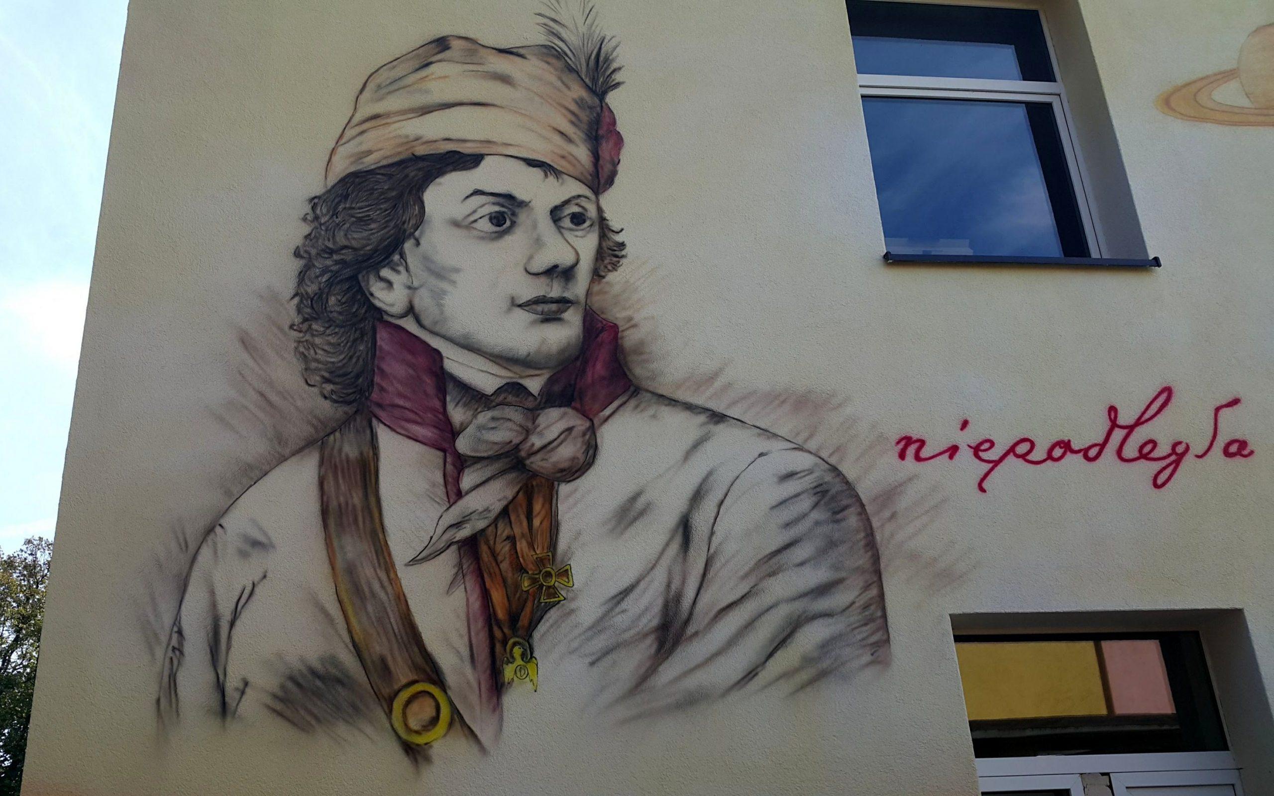 Mural Tadeusz Kościuszko, malowanie szkoły w Zieleniu