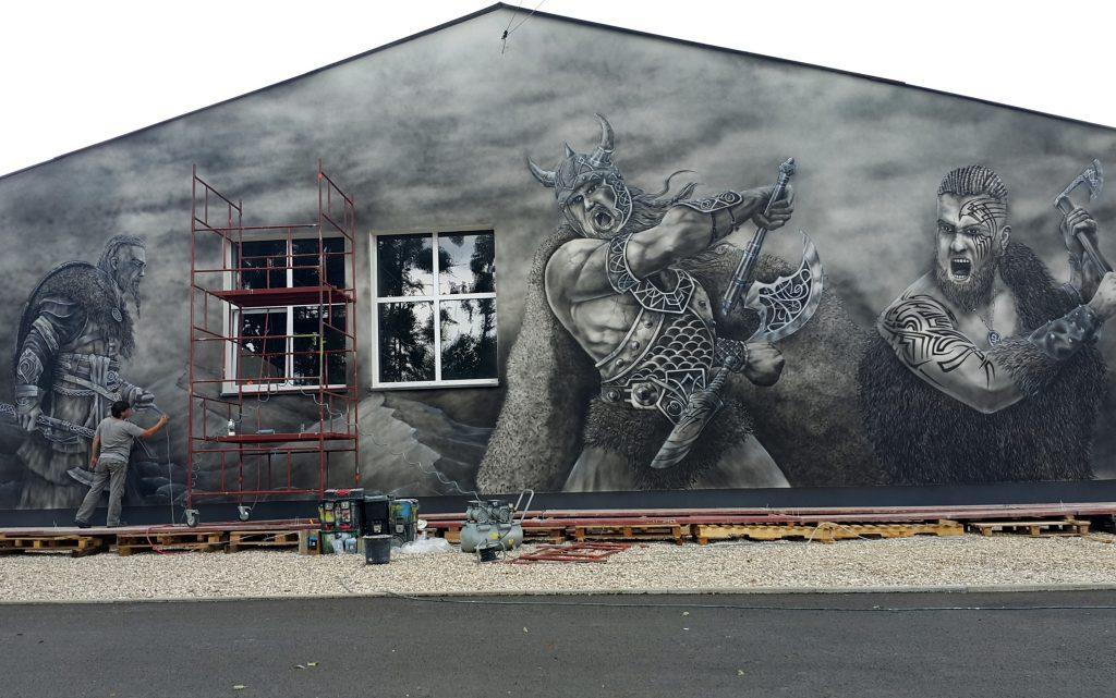 Wikingowie, mural 3D namalowany na ścianie budynku