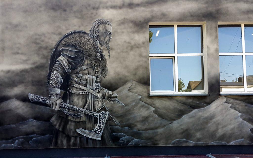 Wikingowie, mural 3D na elewacji budynku
