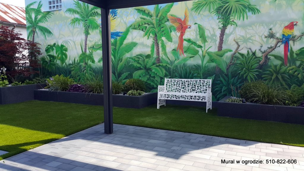 Malowanie ściany w ogrodzie, aranżacja ogrodu