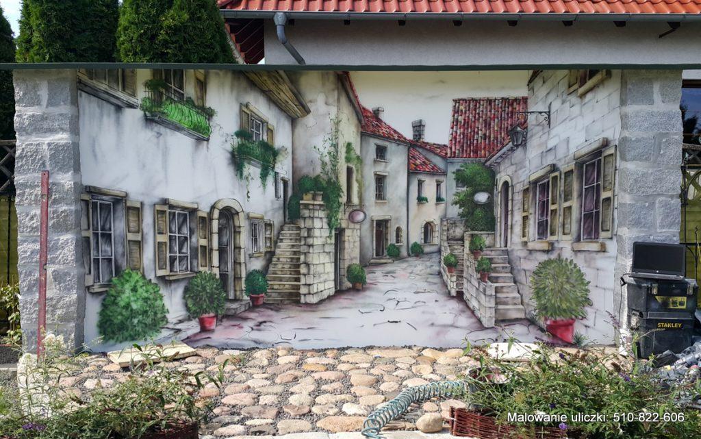 Malowanie włoskiej uliczki w ogrodzie
