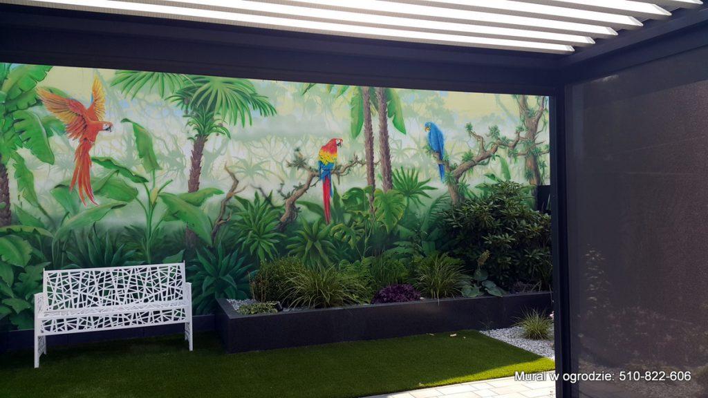 Graffiti w ogrodzie jako tło pod roślinnosc