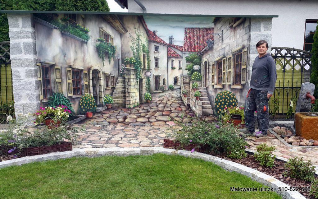 Malowanie włoskiej uliczki, mural w ogrodzie, malowanie ścian