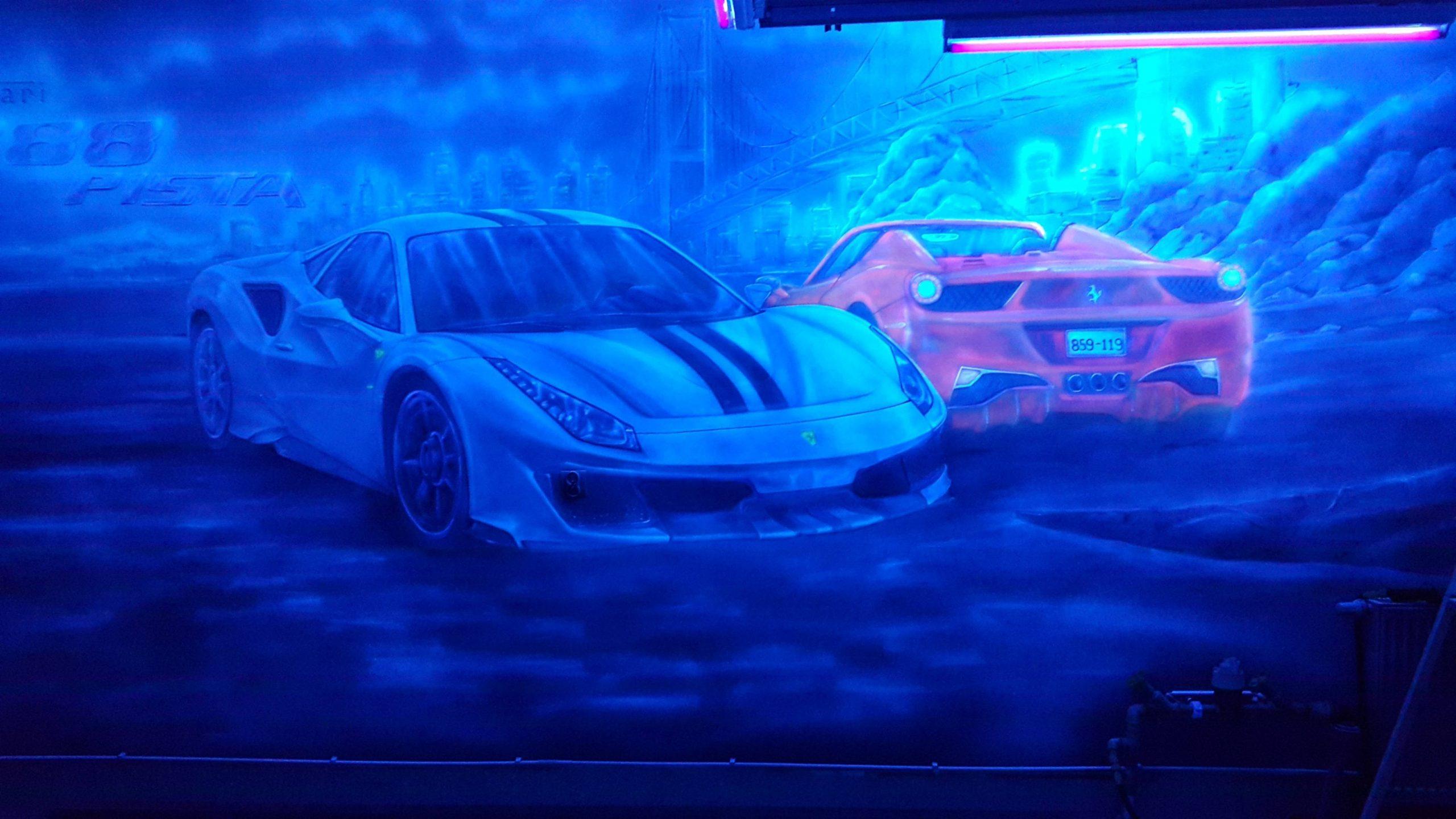 Malowane obrazu w ultrafiolecie na ścianie, obraz świecący w ciemności