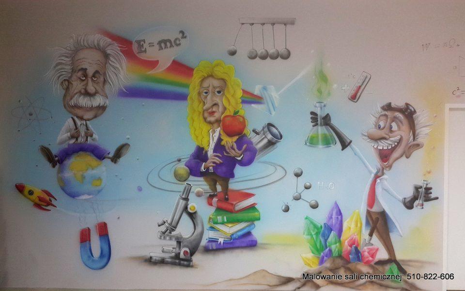 Ciekawy mural namalowany w sali fizyczno chemicznej przedstawiający w zabawny sposób naukę i zabawę,