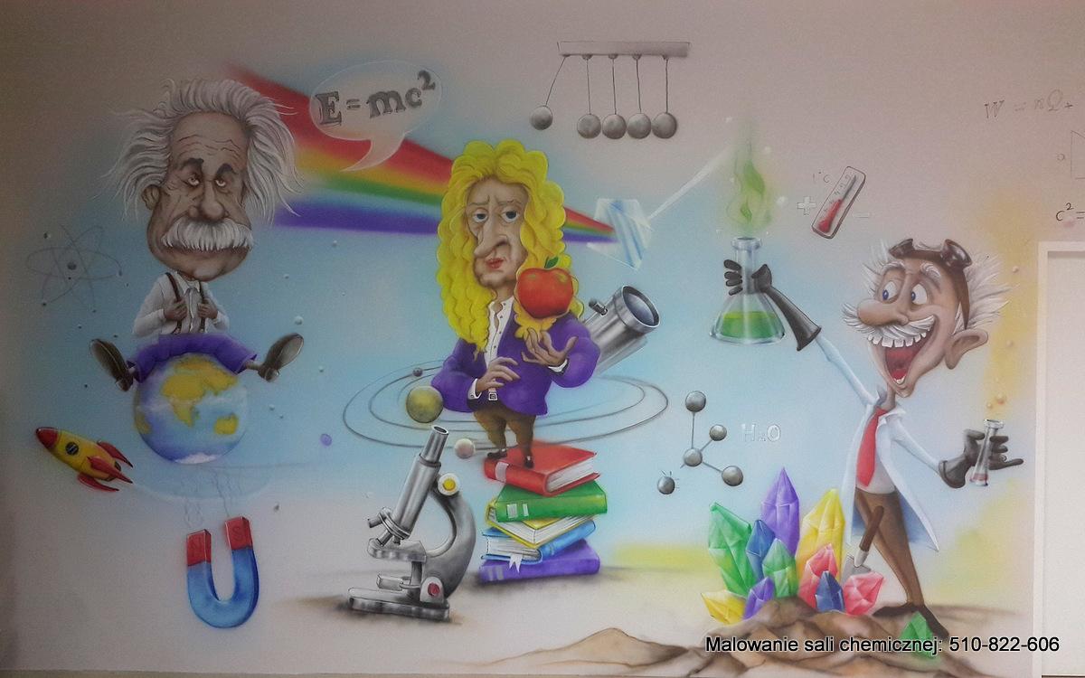 Malowanie klasy fizycznej, mural na scianie promujący edukację