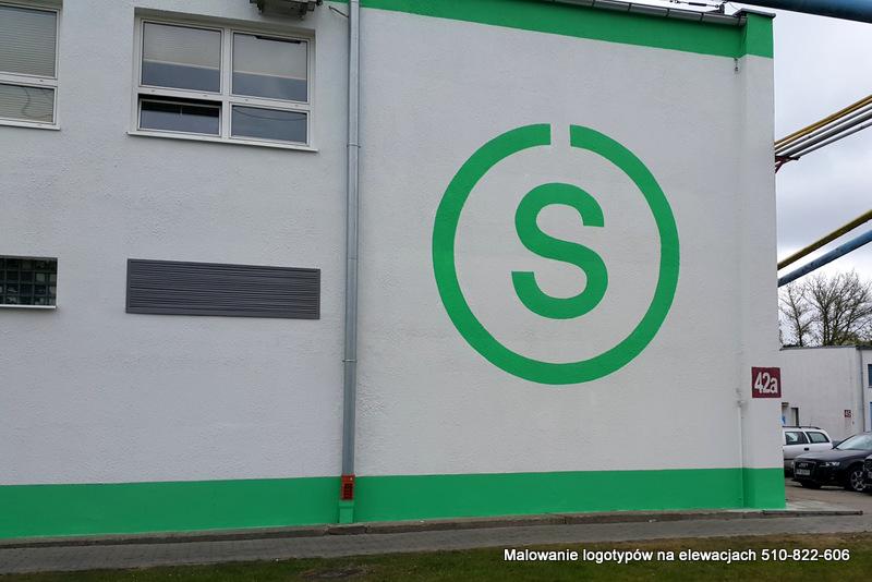 Malowanie napisów na ścianach budynków firmowych, malowanie loga