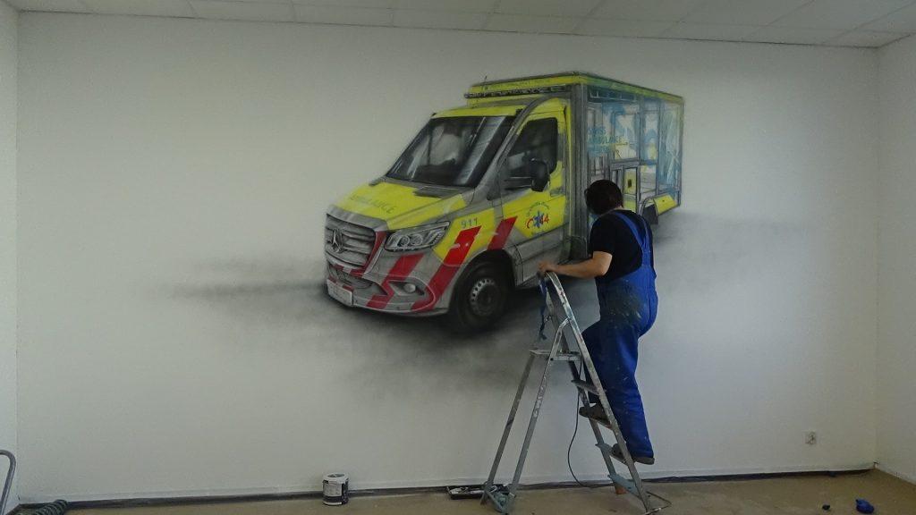 Malowanie auta na ścianie mural 3D, malowanie samochodów i aut na ścianach
