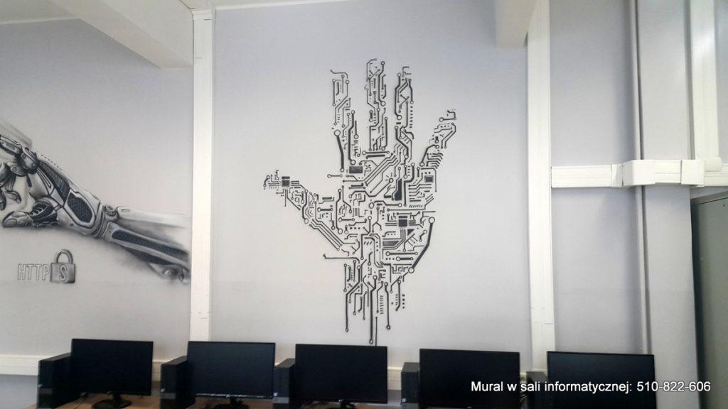 Malowanie sciany w klasie komputerowej, mural w sali informatycznej