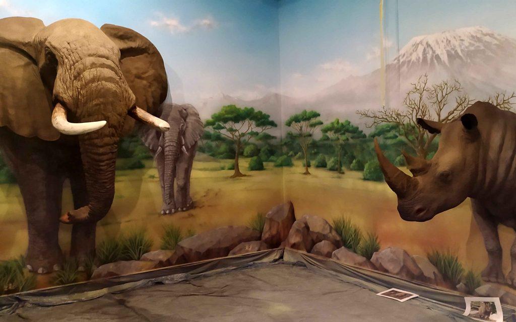Mural w klimacie safarii, afrykańskie motywy namalowane na ścianie