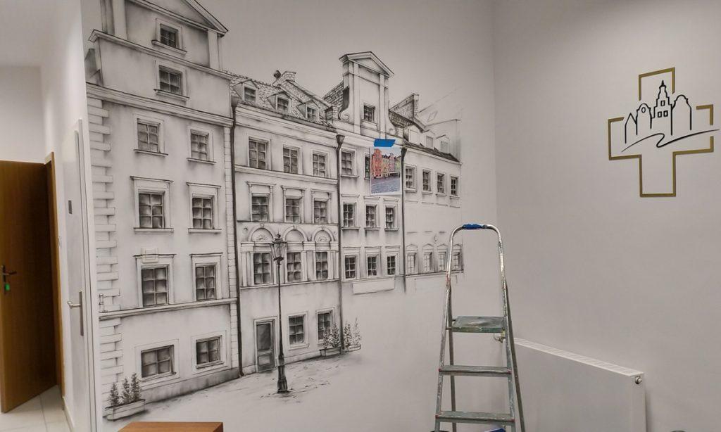 Malowanie ścian w przychodni mural 3D