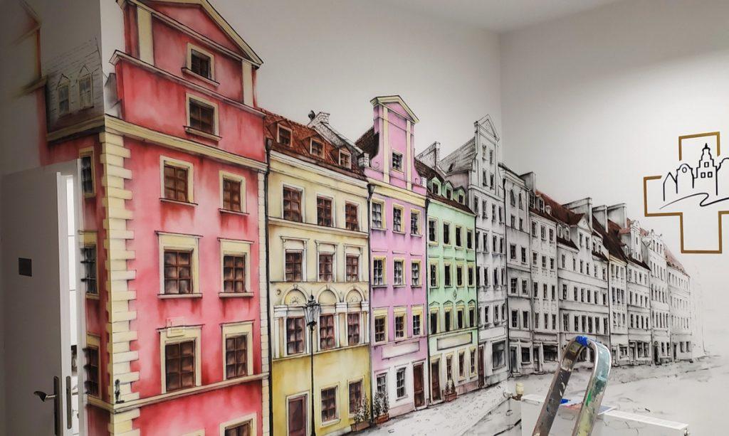 Aranżacja ściany w klinice, malowanie poczekalni w przychodni, mural 3D
