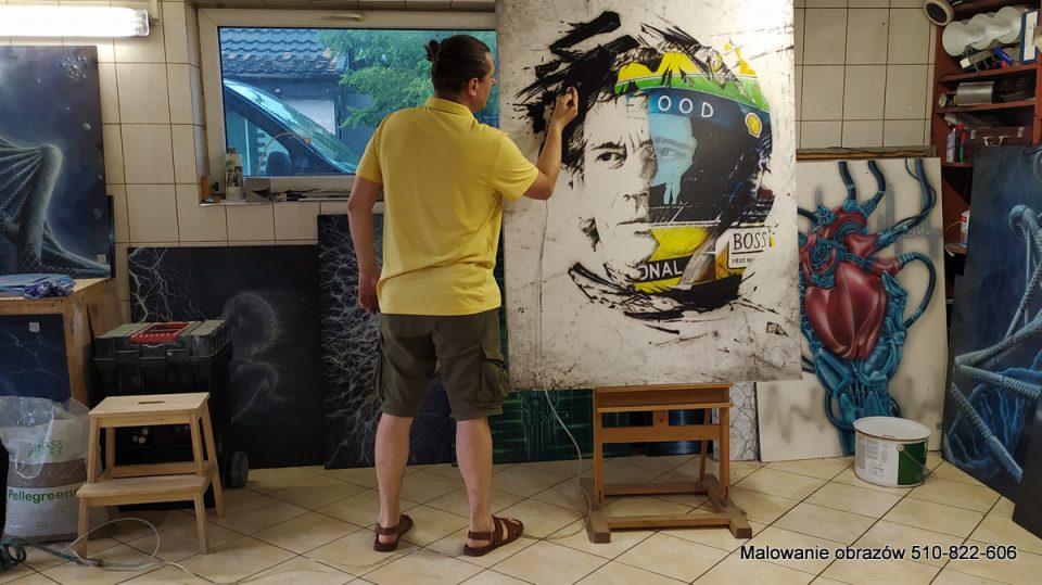 Malowanie duzego obrazu na scianę do salonu
