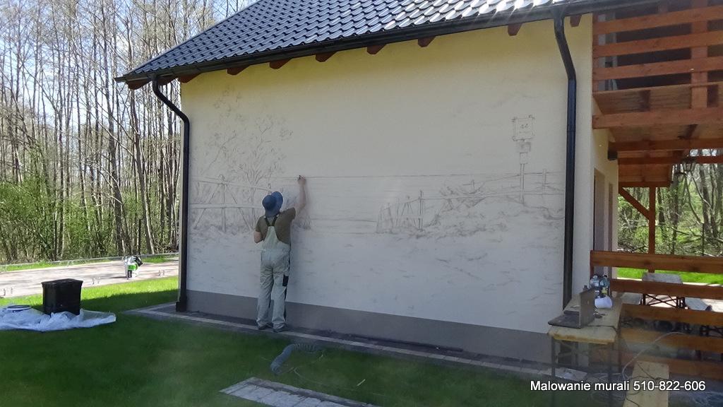 Domki wczasowe kopalino, malowanie muralu na domkach wczasowych