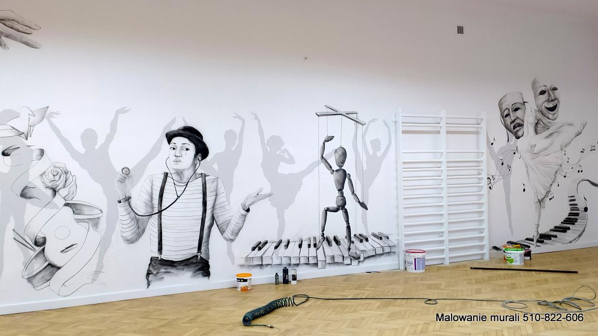 Mural o tamatyce teatralnej wykonany w szkole