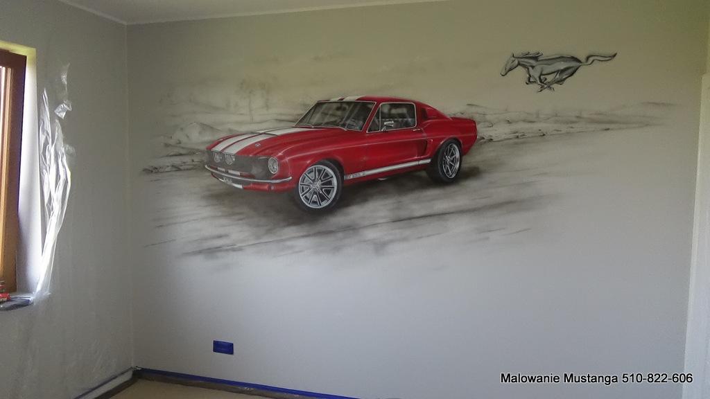 Graffiti o tematyce motoryzacyjnej, mustang mural 3D