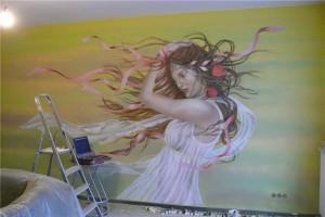 mural w salonie fryzjerskim