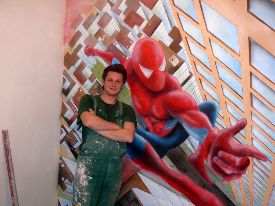 Malowanie pokoju chłopca, obrazu na ścianie, graffiti 3D
