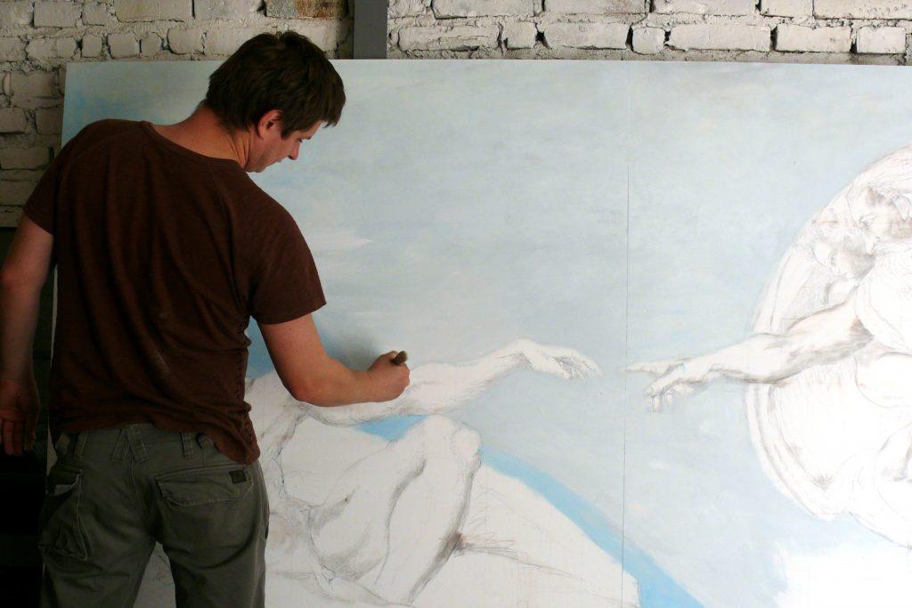 Malowanie Na płótnie znanego dzieła Michała Anioła Stworzenie Adama