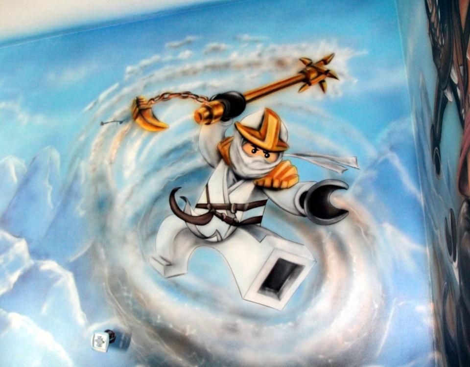Pokój chłopca, malowanie ludzików lego na ścianie