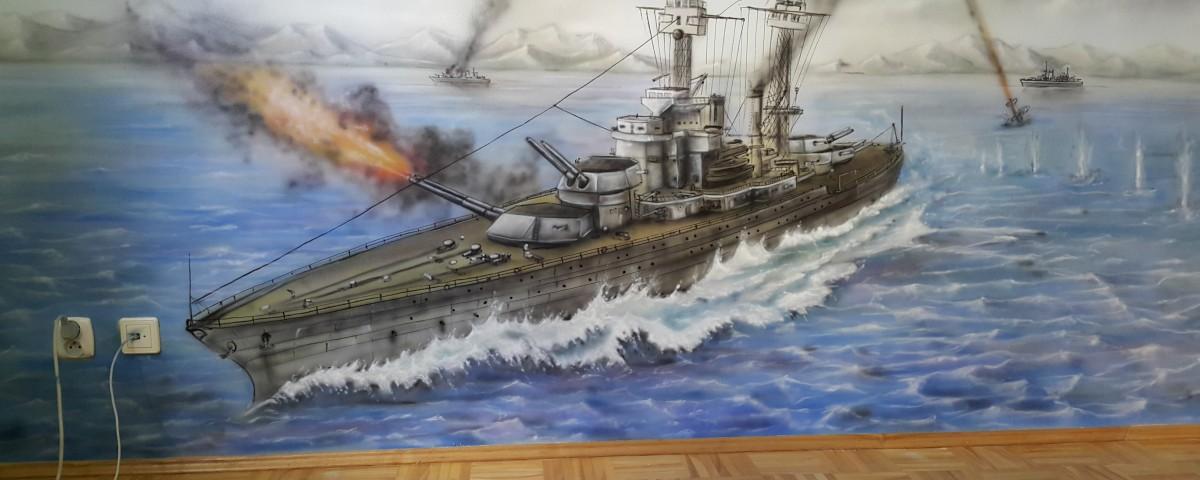 bitwa morska obraz malowany na ścianie w pokoju chłopięcym, aranżacja ściany