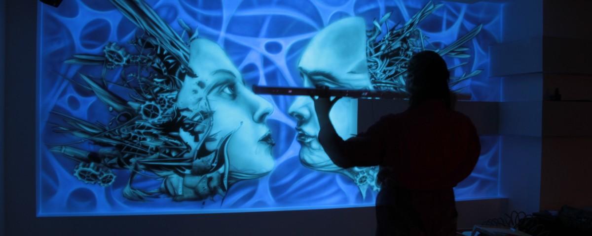 Abstrakcja biomechaniczna, obraz namalowany w ultrafiolecie