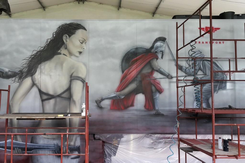 Malowanie ciężarówki, airbrush truck, malowanie areografem