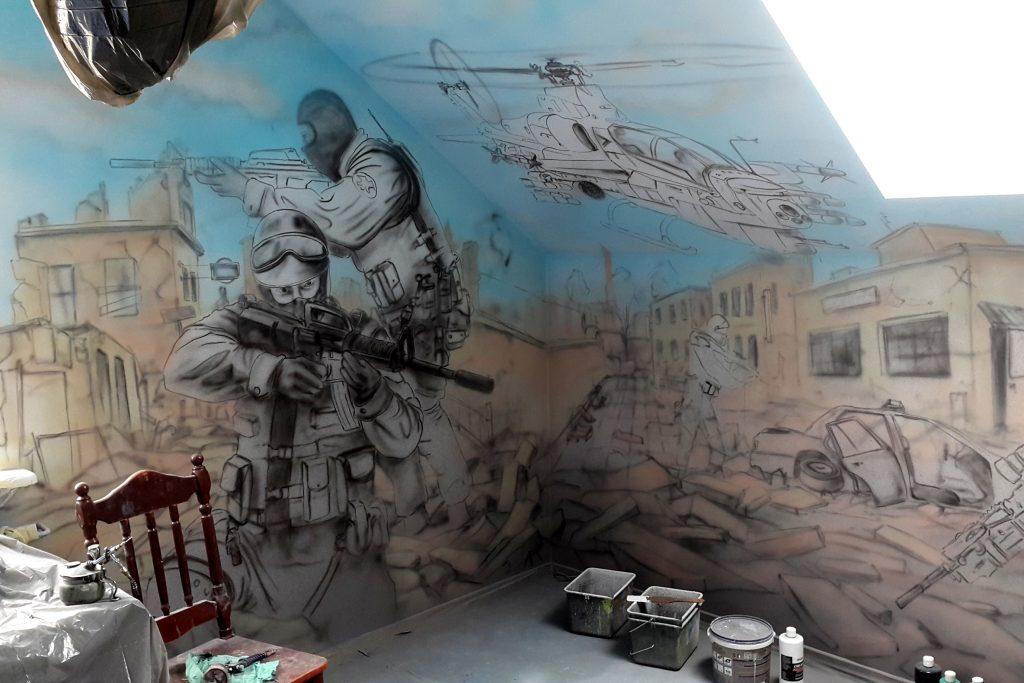 Malowanie ściany w pokoju młodzieżowym, Łuków aranżacja wnętrza pokoju dziecięcego