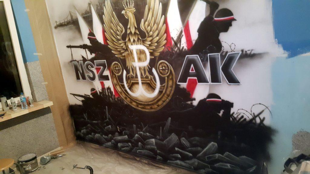 Artystyczne malowanie ściany, mural o powstaniu Warszawskim,