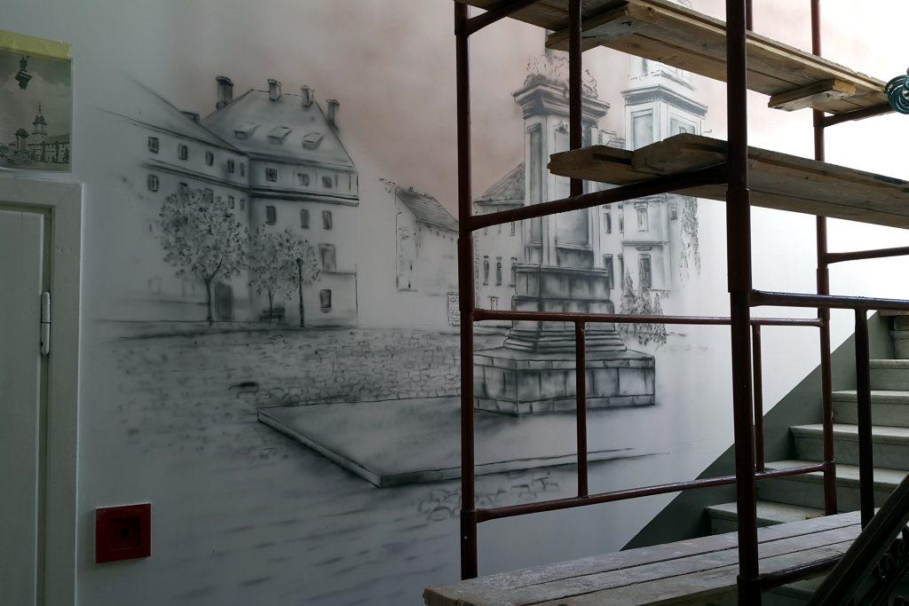 Malowanie obrazów na ścianie, graffiti 3D