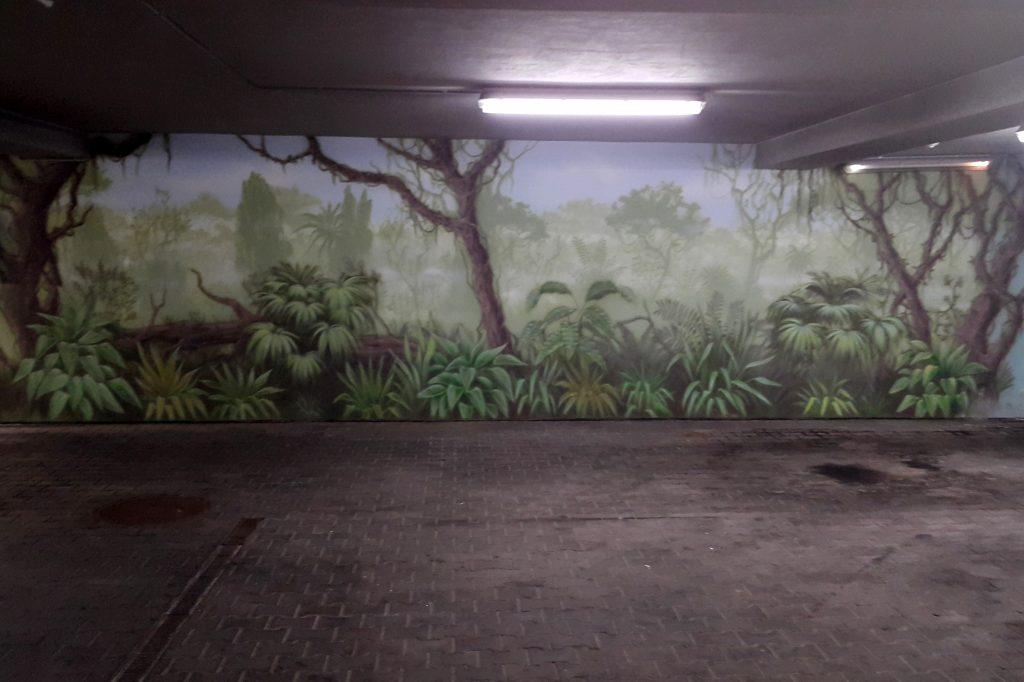Malowanie dżungli na ścianie, grafika ścienna las tropikalny