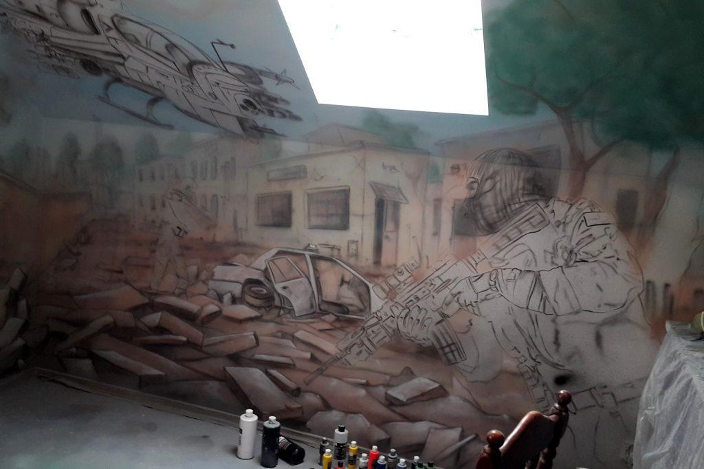 Pokój młodzieżowy, malowanie graffiti w pokoju chłopca, mural w pokoju młodzieżowym