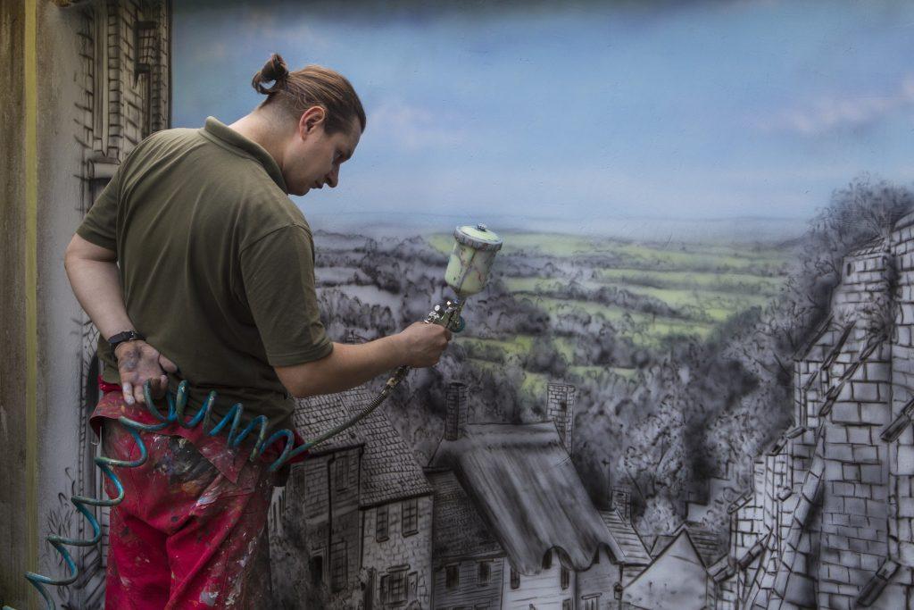 Artystyczne malowanie ścian, Malowanie murali, obraz do nowoczesnego ogrodu, aranzacja ściany w ogrodzie