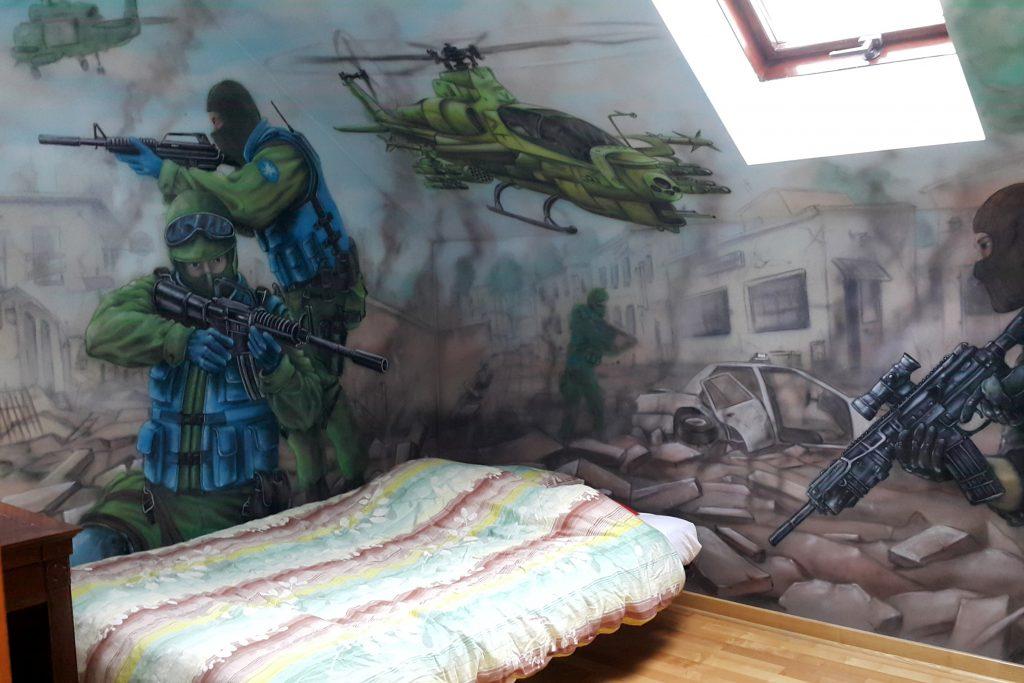 Pokój chłopca, malowanie graffiti na ścianie Łuków, aranżacja ściany,