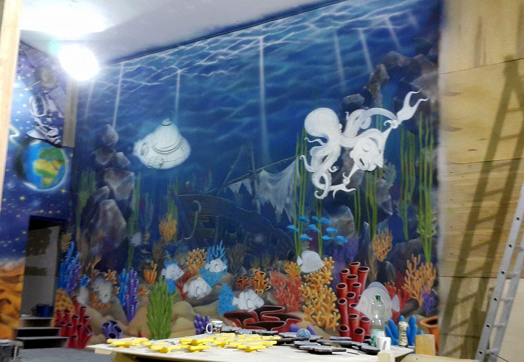 Mural, obraz na ścianie malowanie rafy koralowej, obraz namalowany dla dzieci