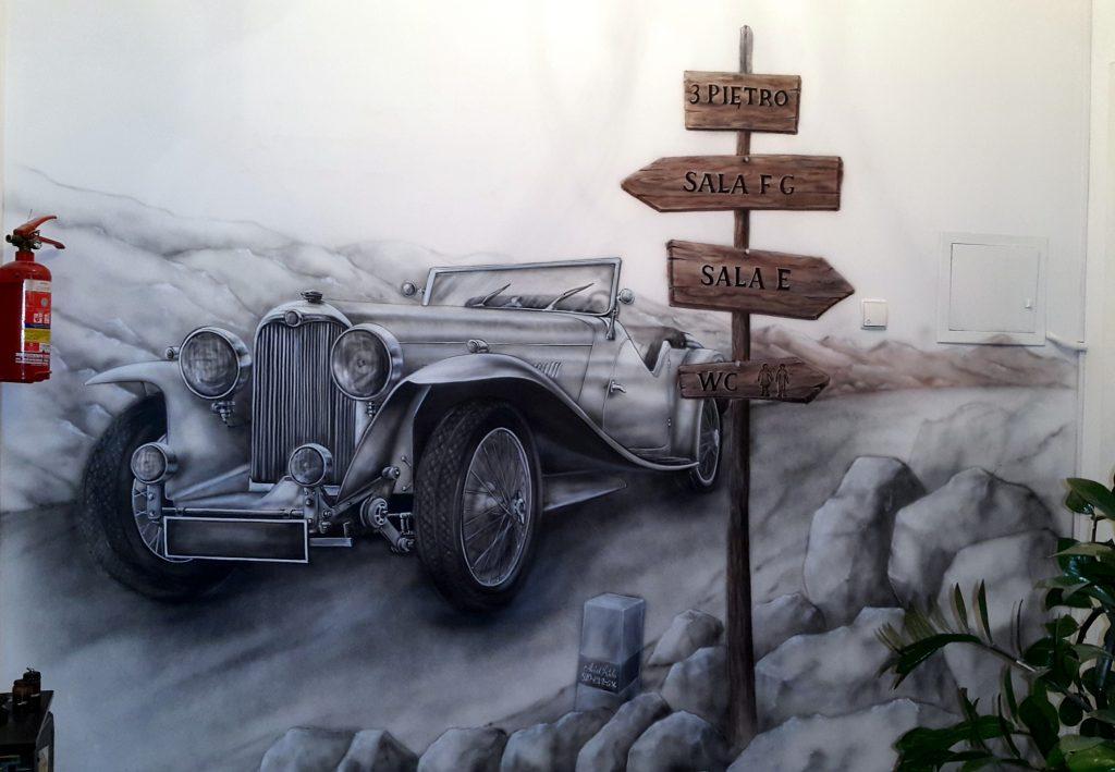 Artystyczne malowanie ściany, Obraz malowany na ścianie, stary zabytkowy samochód, mural w stylu retro