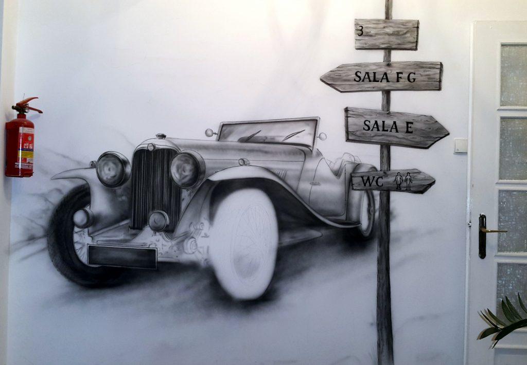 Artystyczne malowanie ściany, Malowanie samochodu na ścianie , graffiti w pokoju malowanie auta