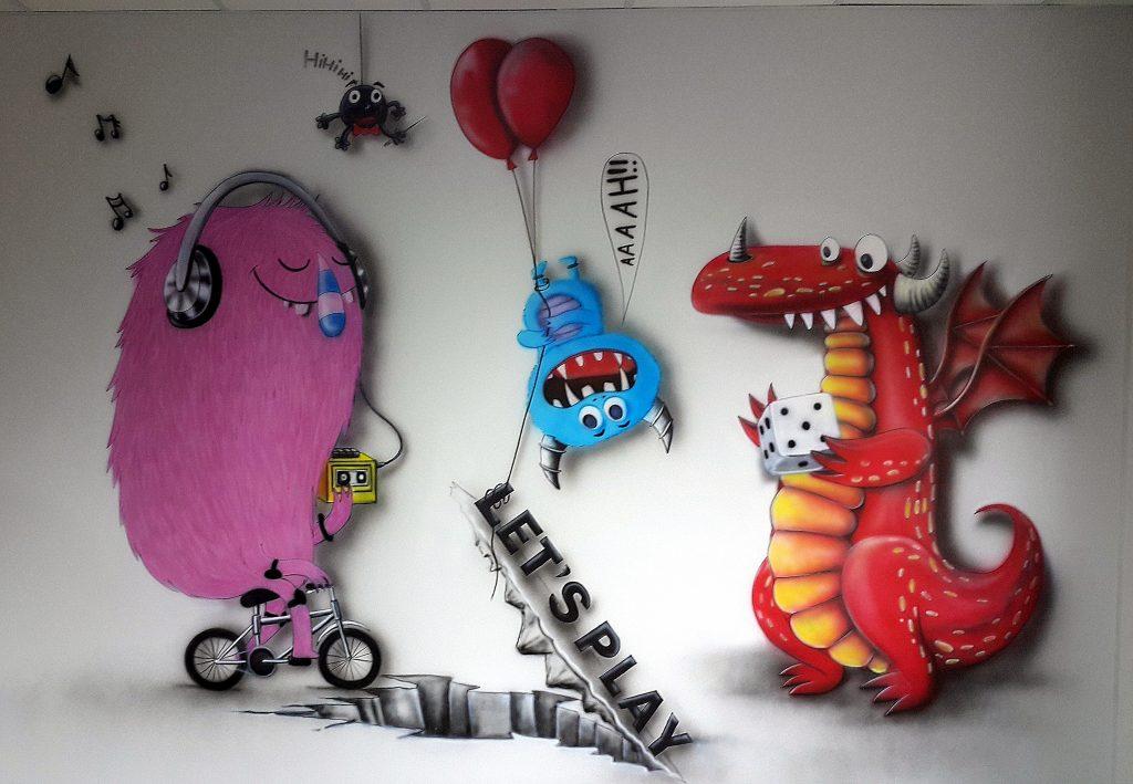 Malowanie pokoju relaksacyjnego w firmie informatycznej