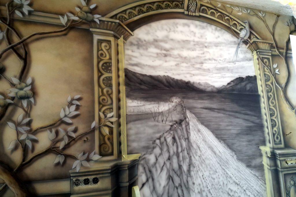 Obraz 3D w sypialni, Malowanie fresku na ścianie w sypialni