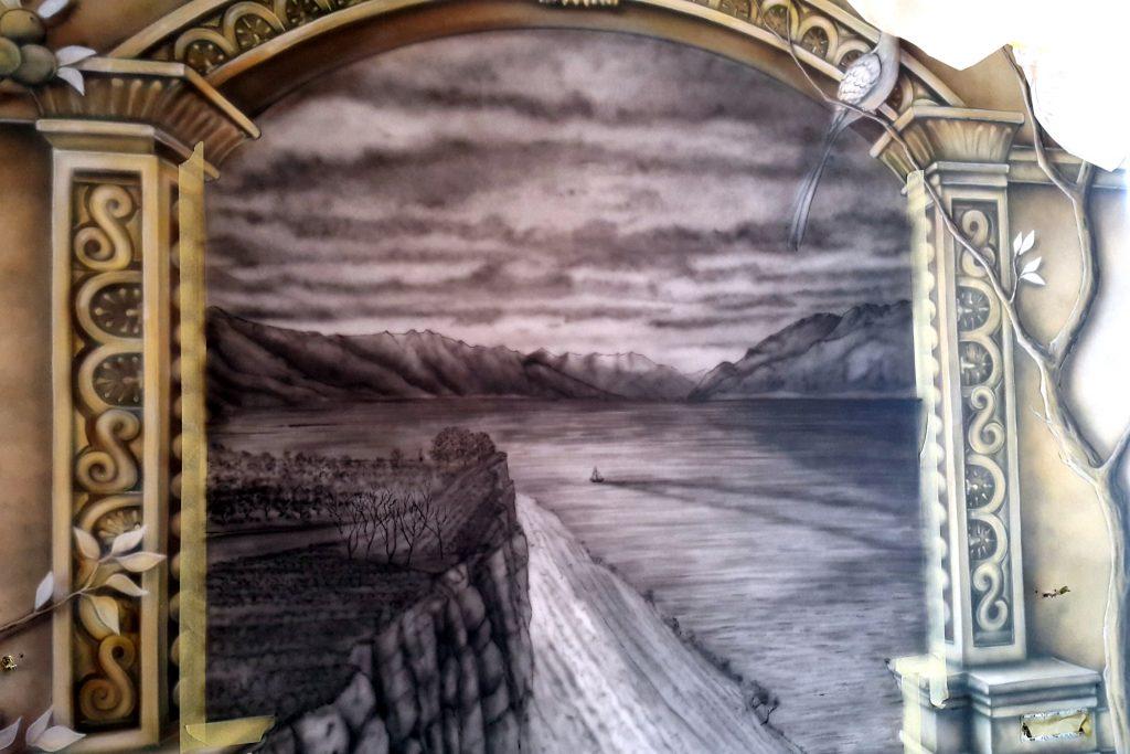 Obraz 3D w sypialni, Fresk ścienny w sypialni, aranżacja ścian w sypialni