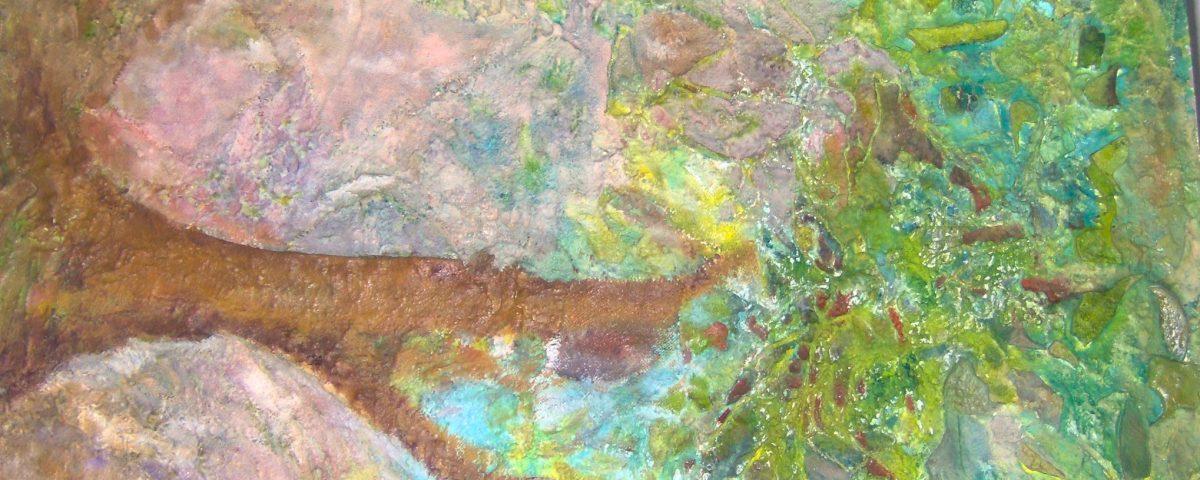 Malowanie abstrakcyjnego obrazu, betonowa instalacja obraz z betony