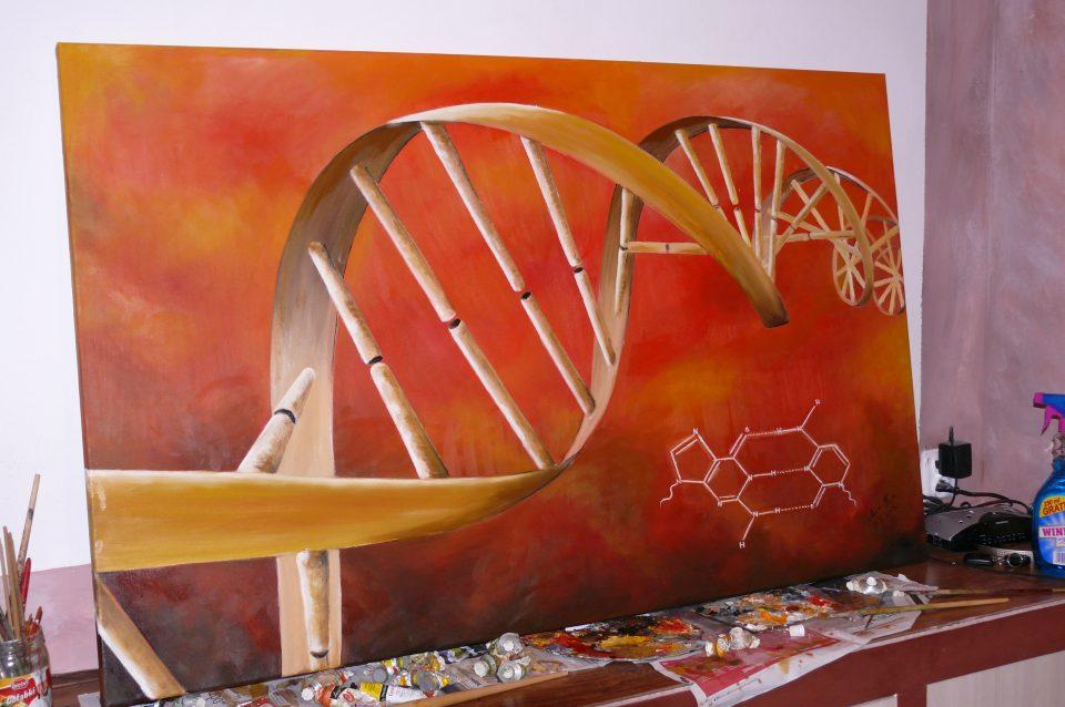 Malowanie abstrakcyjnego obrazu abstrakcyjnego DNA