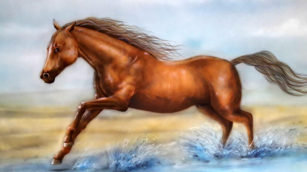 Malowanie obrazów na scianie, malowanie koni, konie w galopie obraz olejny