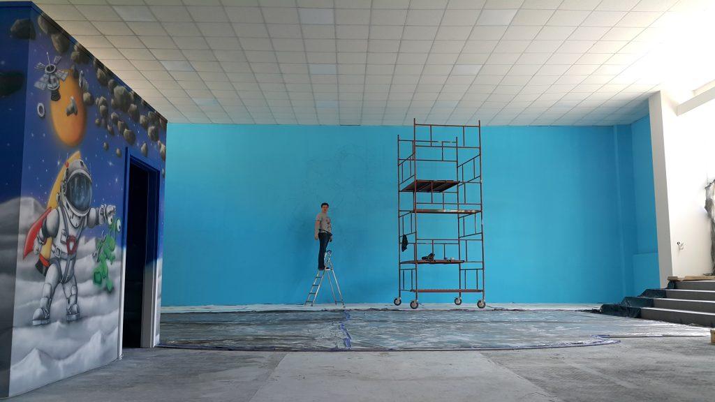 Mural 3D w bawialni, malowanie ścian w sali zabaw