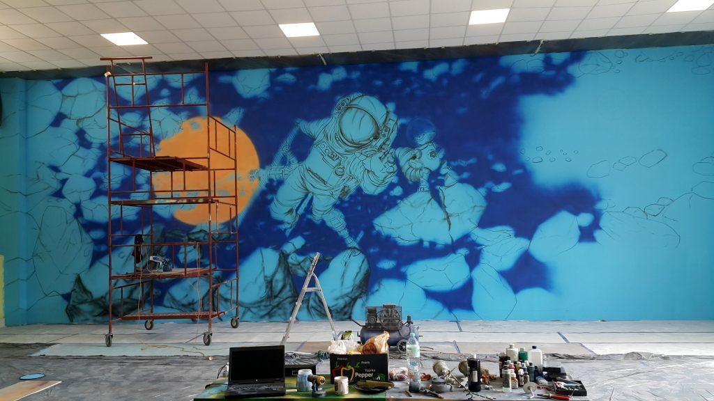 Malowanie bawialni, mural 3D w sali zabaw